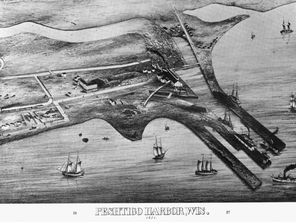 Drawing of Peshtigo Harbor about 1871