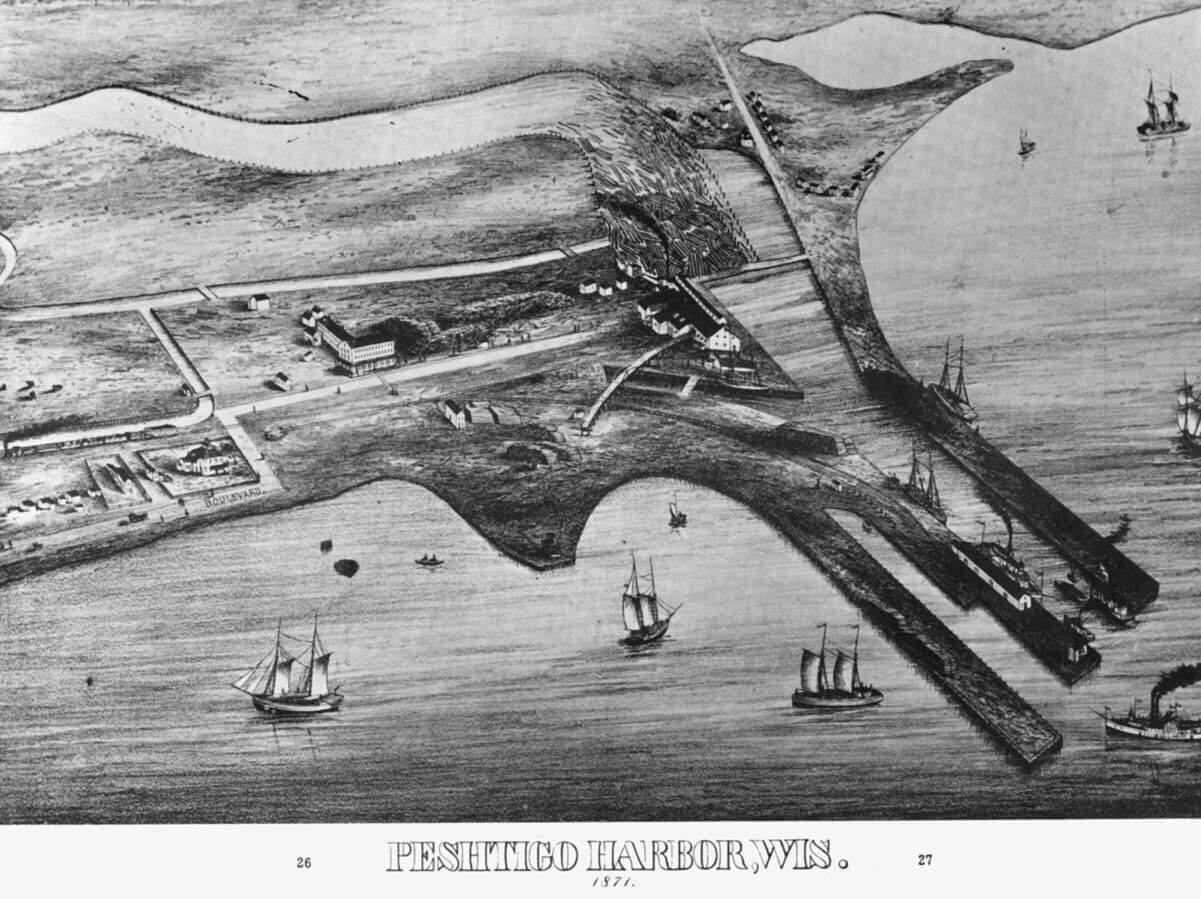Drawing of Peshtigo Harbor about 1871