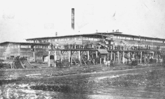 Photo of woodenware factory in Peshtigo before the fire of 1871