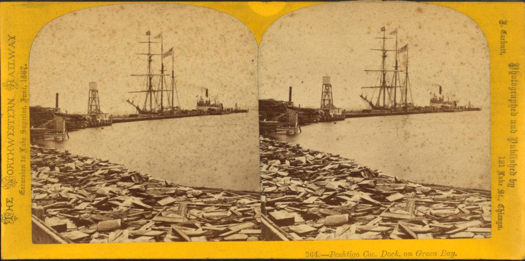 Peshtigo Company dock on Green Bay on The Northwestern Railway excursion 1867