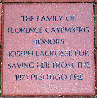 Peshtigo Fire hero honor brick at Lambeau Field
